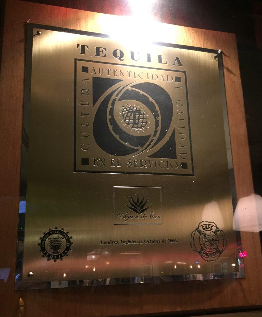 Cafe Pacifico's Distinctivo T Award